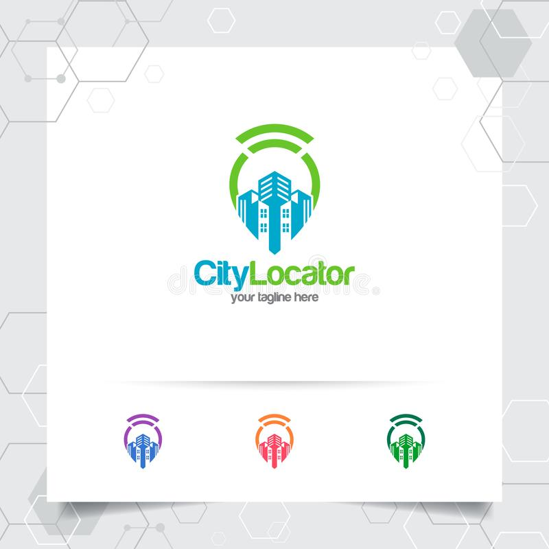 City locate logo vector with concept of pin map locator and wifi cityscape symbol design for travel, local guide, gps, and tour royalty free illustration