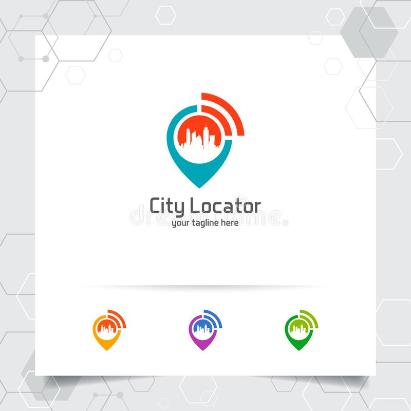 City locate logo vector with concept of pin map locator and wifi cityscape symbol design for travel, local guide, gps, and tour. Travel royalty free illustration