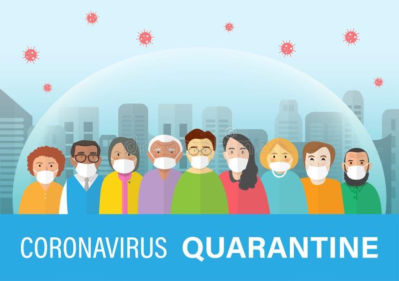 City lockdown pandemic Covid-19 2019-nCoV Ausbruch Konzept,Cartoon Vektor Illustration Vorsicht ist geboten, zu Hause oder unter  stock abbildung