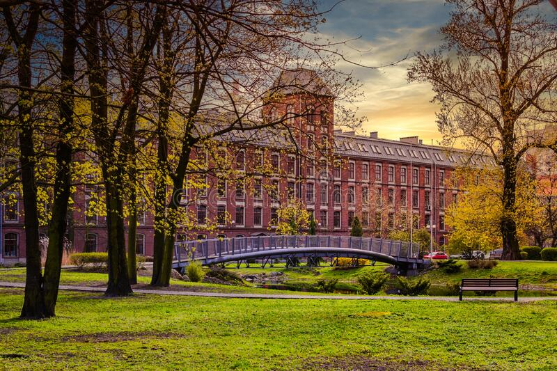 The city of Lodz in central Poland. Historic buildings reminiscent of the complicated history of the city of Lodz in central Poland royalty free stock photo