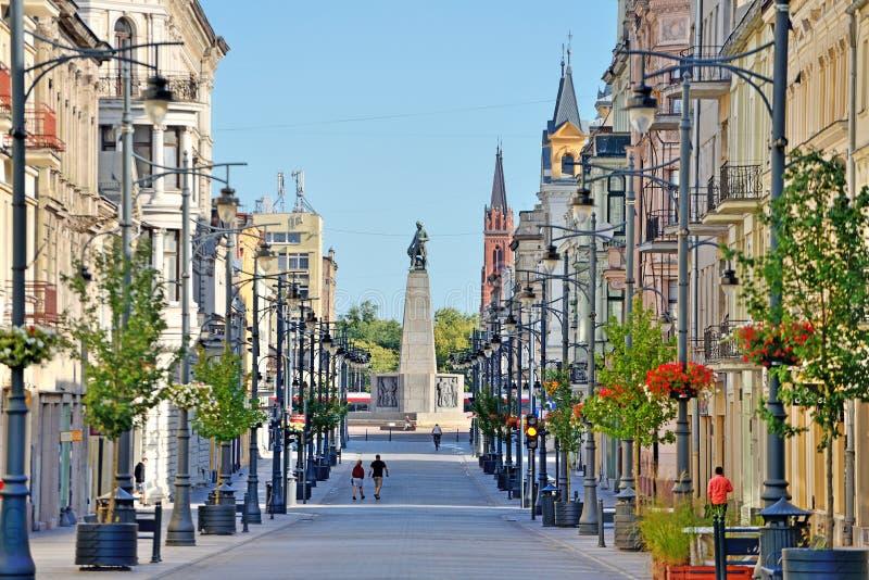 The city of Lodz, Poland. Lodz, Poland, Piotrkowska Street. View of the Freedom Square - Kosciuszko monument royalty free stock image