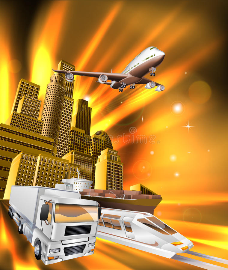 City Logistics Delivery Graphic. City logistics delivery concept illustration. Truck, airplane, and train speeding towards viewer from city stock illustration