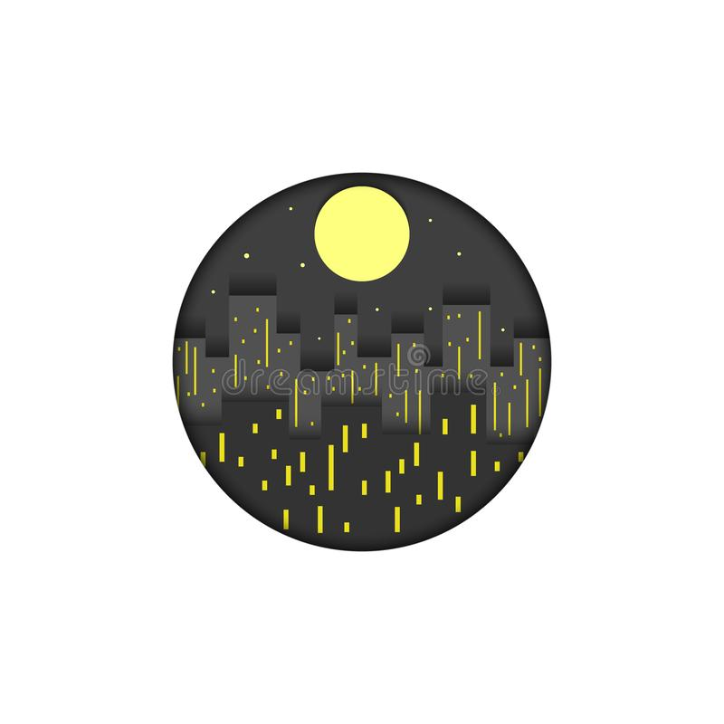 City logo round shape mockup creative paper cut layers night cityscape vector illustration. Skyscrapers buildings with lights,. Stars and moon, urban travel vector illustration