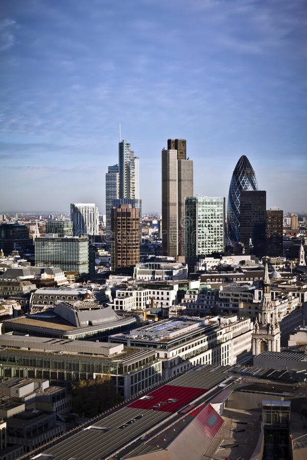 City of London. One of the leading centres of global finance.this view includes :Tower 42 Gherkin,Willis Building, Stock Exchange Tower and Lloyd`s of London royalty free stock images