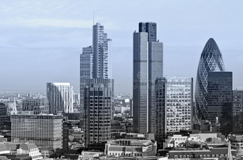 City of London. One of the leading centres of global finance. This view includes Tower 42 Gherkin,Willis Building, Stock Exchange Tower and Lloyd`s of London stock images