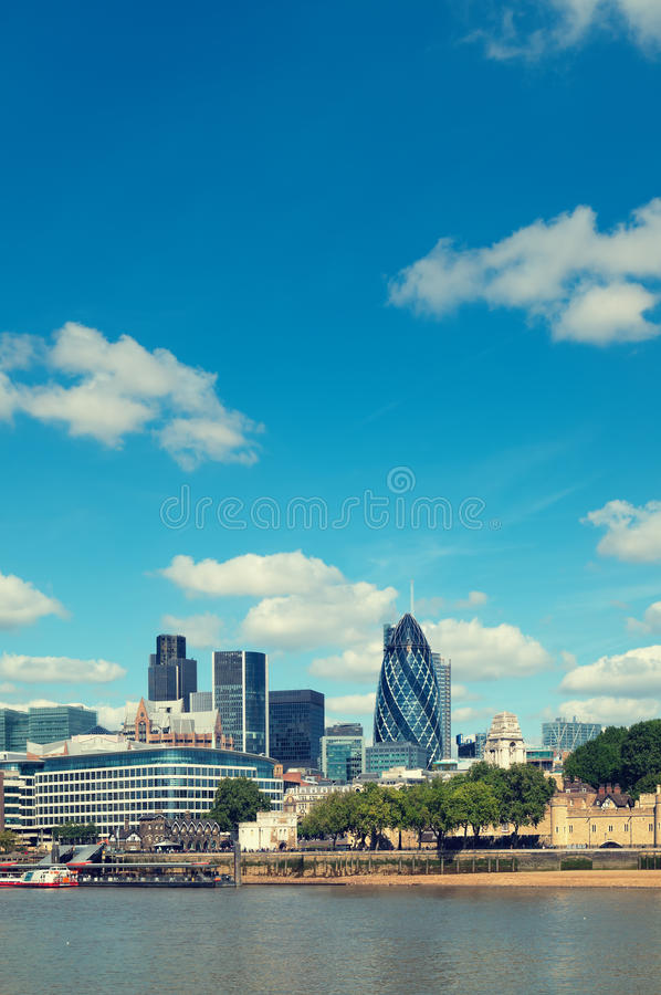 City of London. Skyline. (Tower 42, Willis Building, Aviva, Gherkin, Tower of London royalty free stock images