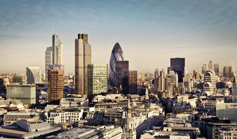City of London. One of the leading centres of global finance. This view includes Tower 42, Gherkin,Willis Building, Stock Exchange Tower, Lloyd`s of London and stock image