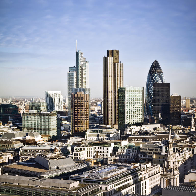 City of London. One of the leading centres of global finance. This view includes Tower 42, Gherkin,Willis Building, Stock Exchange Tower, Lloyd`s of London and royalty free stock images