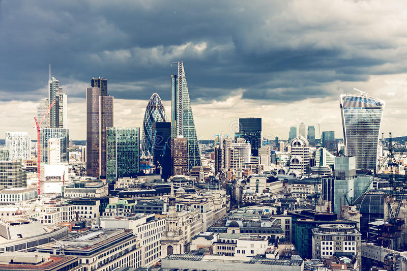 The City of London. In the afternoon, cross process royalty free stock images