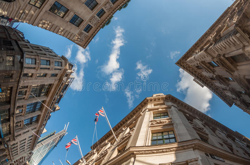 City of London. Banks and offices in the City of London royalty free stock photo