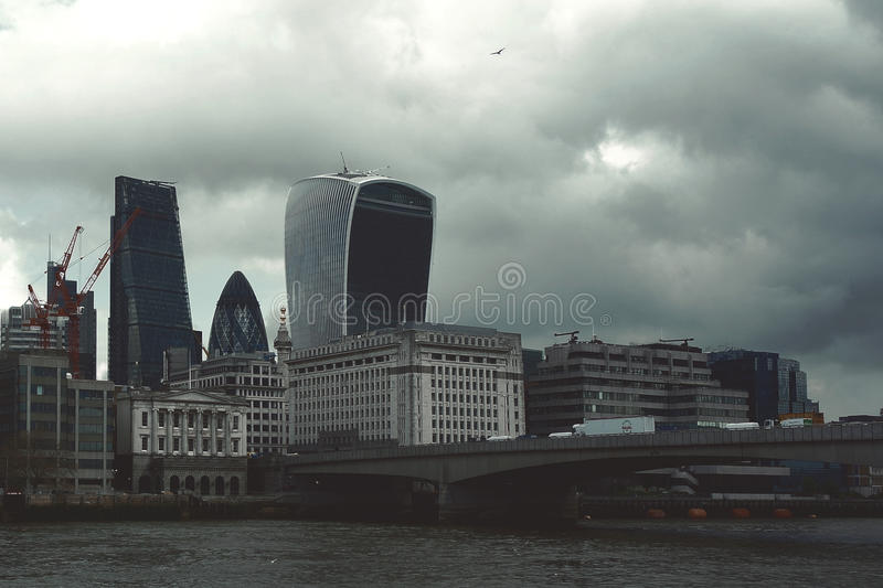 City of London Business Area Skyline. London,Uk - April 15, 2016: London`s panorama on City office buildings, the leading banking, investments and stock market royalty free stock photo