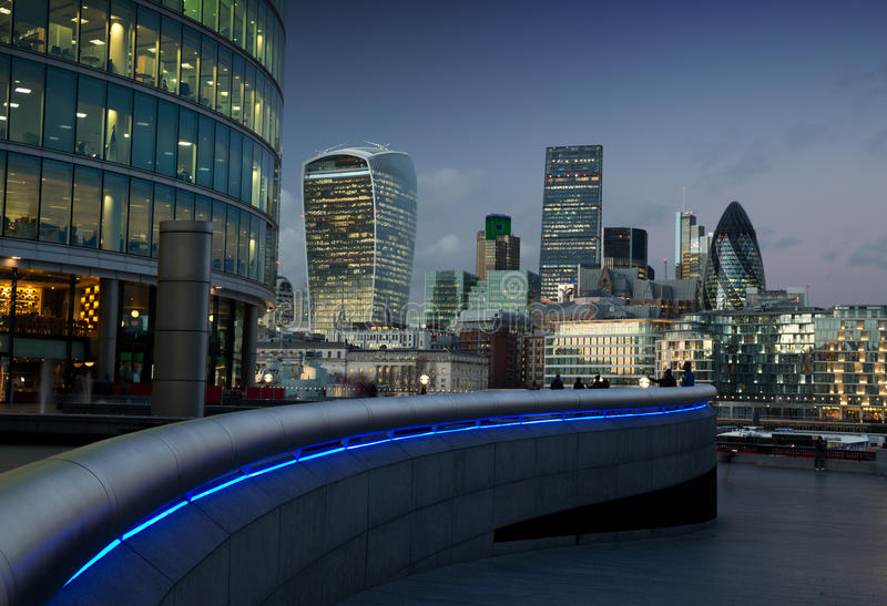 The city of London at dusk. stock images