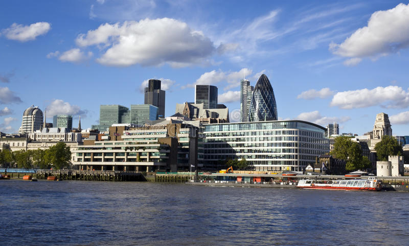 City of London financial district. London skyline seen from the River Thames stock photo
