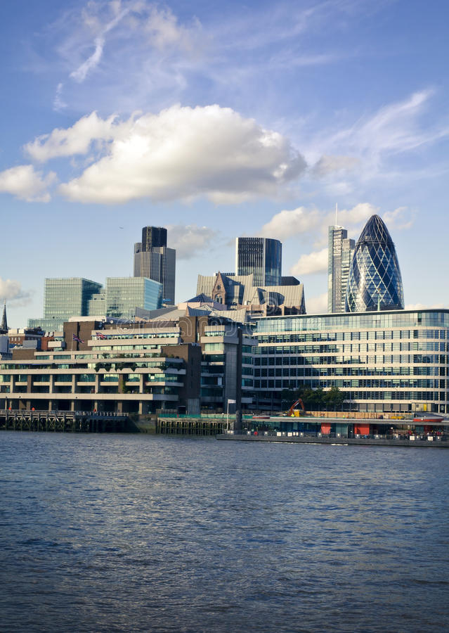 City of London financial district. London skyline seen from the River Thames royalty free stock photography