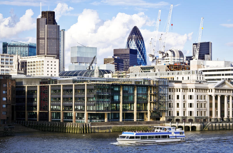 City of London financial district. London skyline seen from the River Thames stock photography