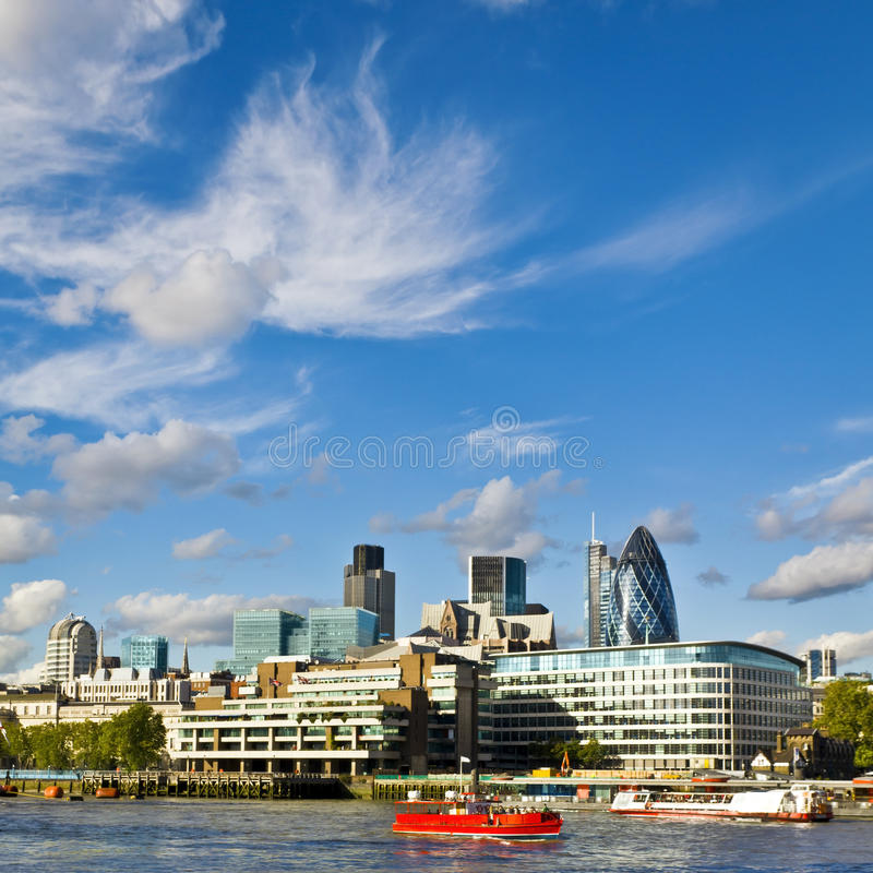 City of London financial district. London skyline seen from the River Thames royalty free stock images
