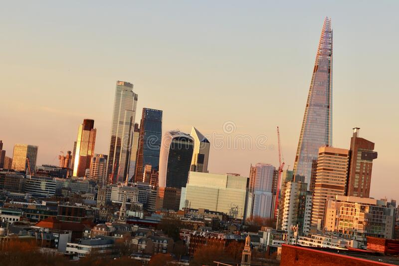 The city of London, Great Britain, sunset royalty free stock photography