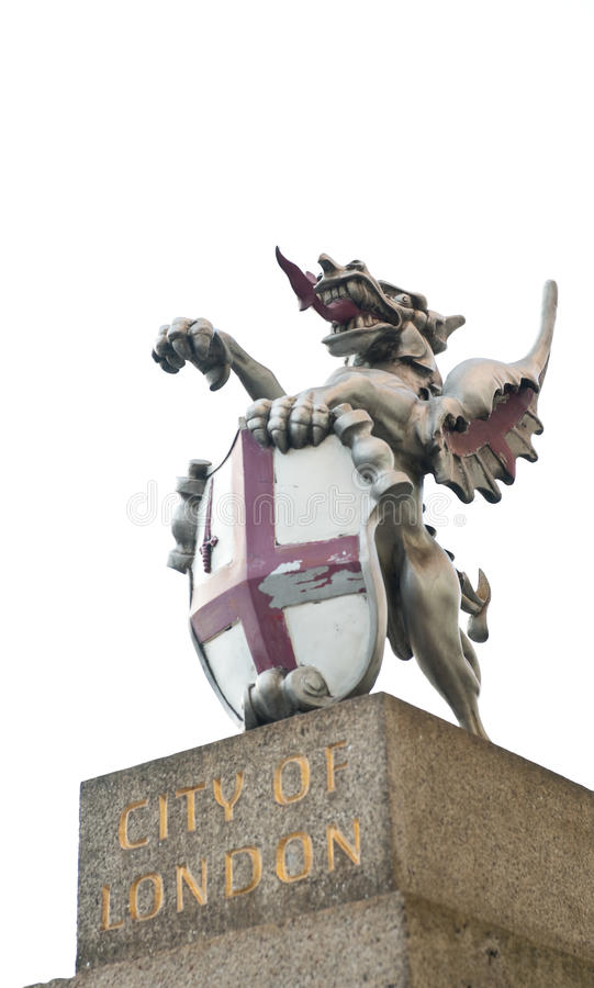 City of London Griffin. On pedestal isolated on white background royalty free stock photography