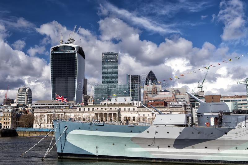 City of London and HMS Belfast warship stock photography