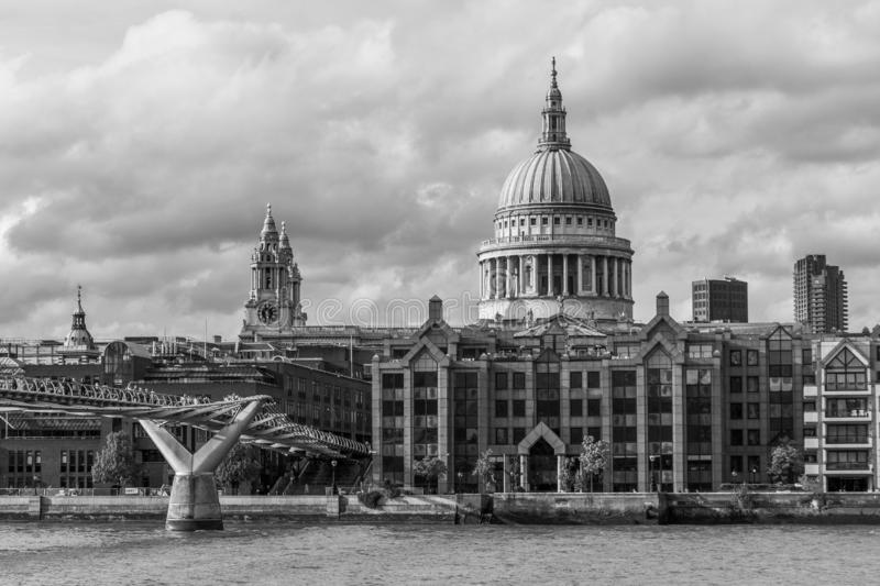 City of London, Millennium bridge and St. Paul;s cathedral royalty free stock image