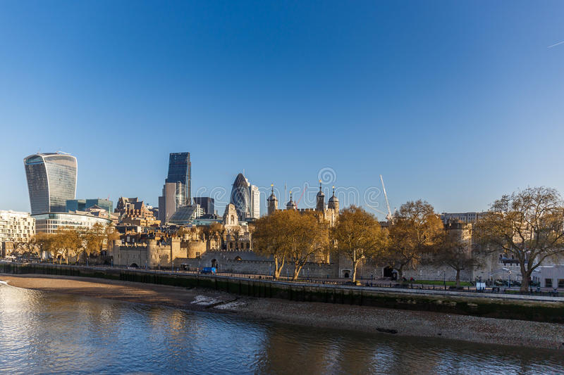 City of London in the morning. Sunset stock photography