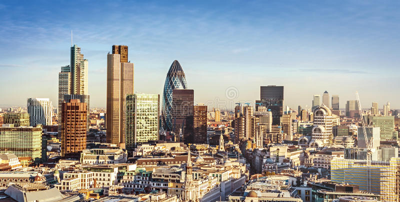City of London. One of the leading centres of global finance. This view includes Tower 42, Gherkin,Willis Building, Stock Exchange Tower, Lloyd`s of London and royalty free stock photos
