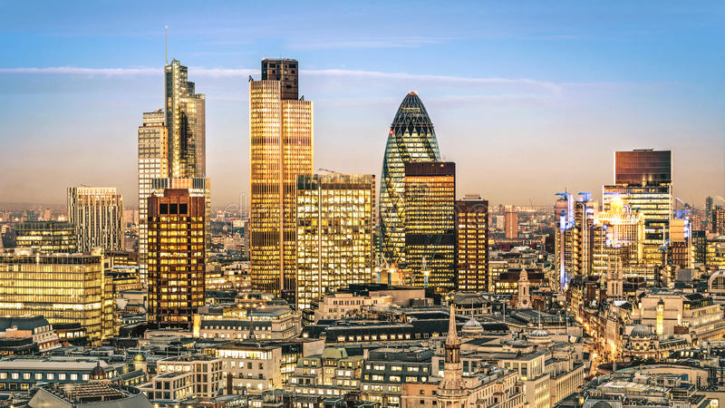 City of London. One of the leading centres of global finance.this view includes :Tower 42 Gherkin,Willis Building, Stock Exchange Tower and Lloyd`s of London royalty free stock photography