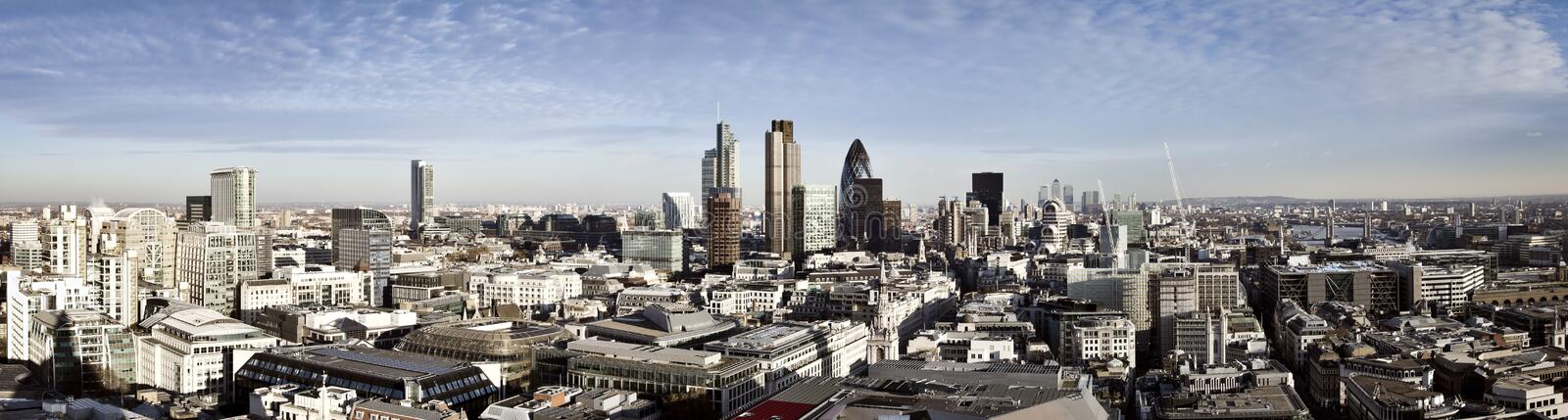 City of London panorama. City of London one of the leading centres of global finance. This panoramic view includes Tower 42, Gherkin,Willis Building, Stock royalty free stock photography
