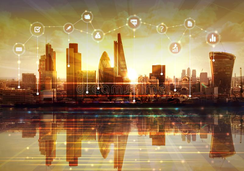 City of London and river Thames at sunset. Illustration with communication and business icons, network connections concept. Modern skyscrapers and financial stock images