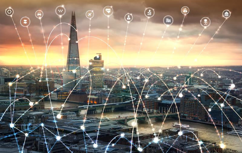 City of London and river Thames at sunset. Illustration with communication and business icons, network connections concept. Modern skyscrapers and financial royalty free stock photos