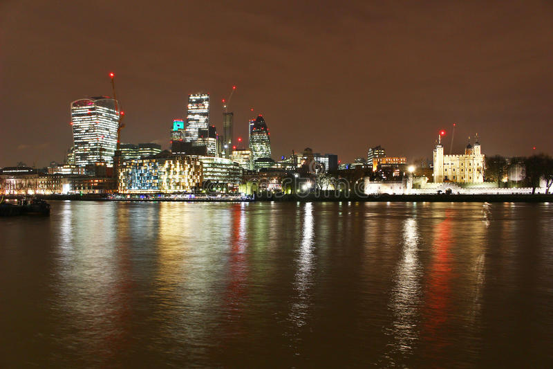 City of London skyline at Night royalty free stock photos