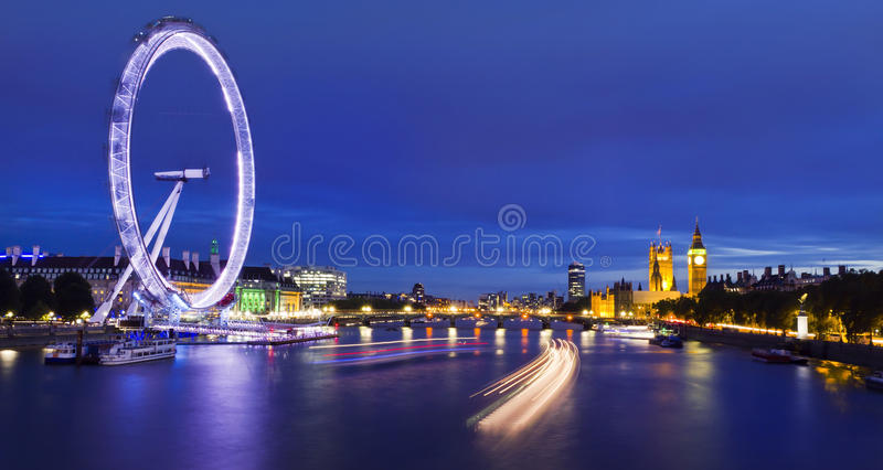 City of London at twilight. London at twilight. London eye, County Hall, Westminster Bridge, Big Ben and Houses of Parliament royalty free stock photos