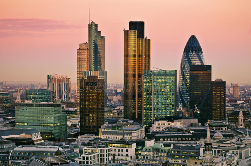 City of London at twilight. City of London one of the leading centres of global finance.this view includes Tower 42 Gherkin,Willis Building, Stock Exchange Tower royalty free stock images