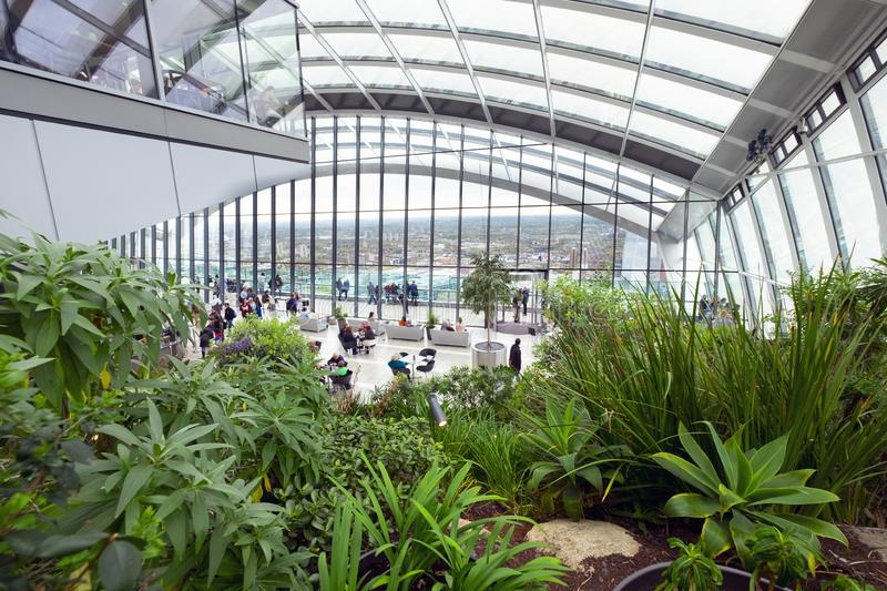 City of London, United Kingdom 23rd April 2018: Skygarden, the indoor roof garden on Fenchurch StreetChurch in London stock photos