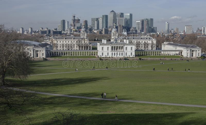 City of London - a view from the Greenwich Park, February 2018. stock image