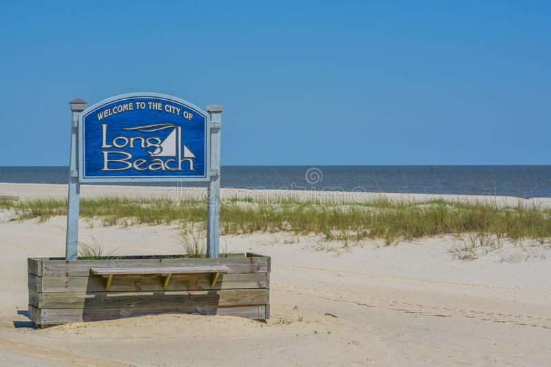 The City of Long Beach Sign on the Mississippi Gulf coast. City of Long Beach, Mississippi / USA - May 15 2019:.  royalty free stock photo