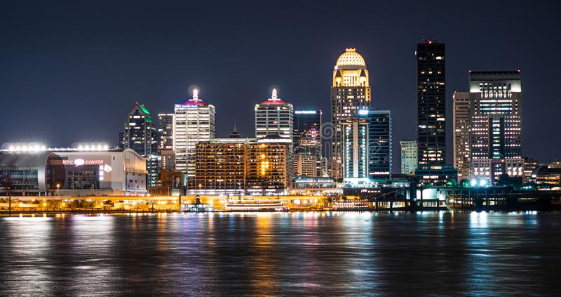 The city of Louisville by night royalty free stock photography