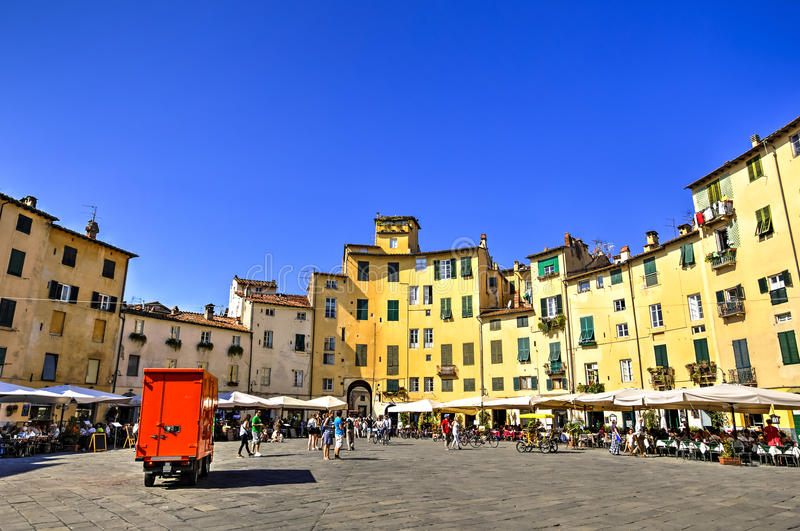 City of Lucca, Italy. Amphitheatre square in Lucca, Italy royalty free stock photography