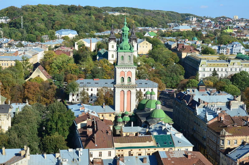 City Lviv, Ukraine. Aerial view. City Lviv in Western Ukraine royalty free stock images