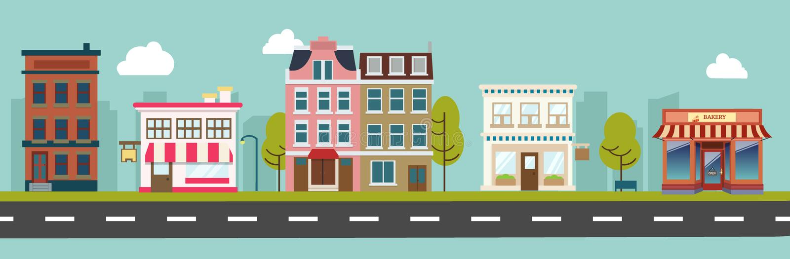 City main street and store buildings vector stock illustration