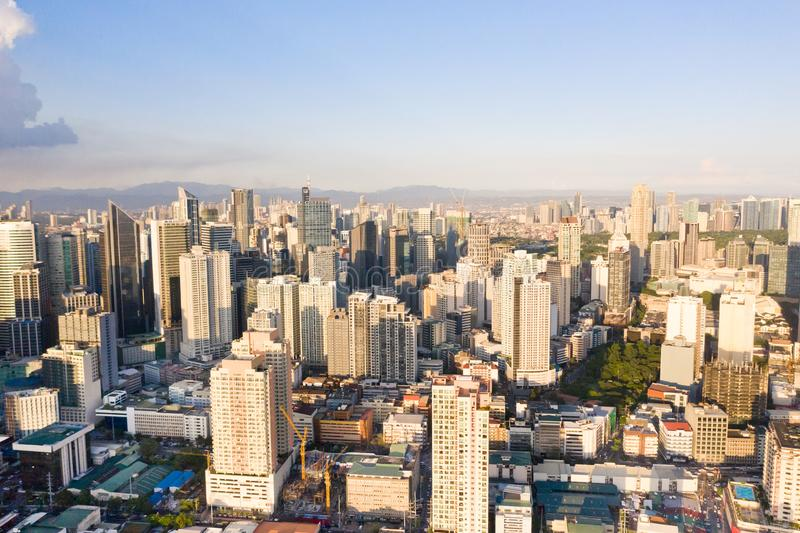 The city of Manila, the capital of the Philippines. Modern metropolis in the morning, top view. Modern buildings in the city. Modern city. The city of Manila royalty free stock images