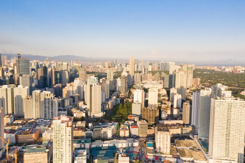 The city of Manila, the capital of the Philippines. Modern metropolis in the morning, top view. Modern buildings in the city. Modern city. The city of Manila royalty free stock image