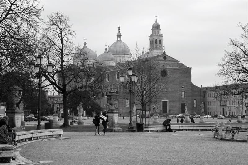 A city of many churches. Beautiful Padua in black and white colors. A city of many churches. Visit Italy royalty free stock photos