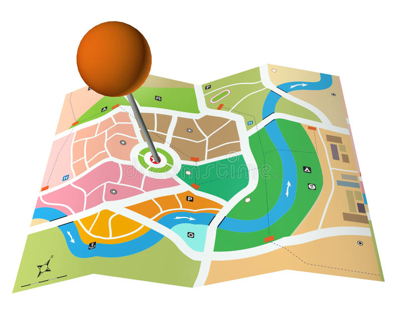 City map. Abstract city map with a pointer stock illustration