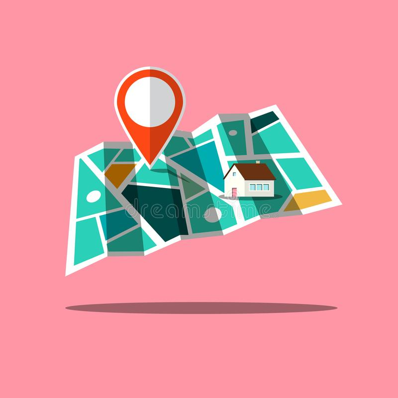 City Map App Icon with Pin and House royalty free illustration