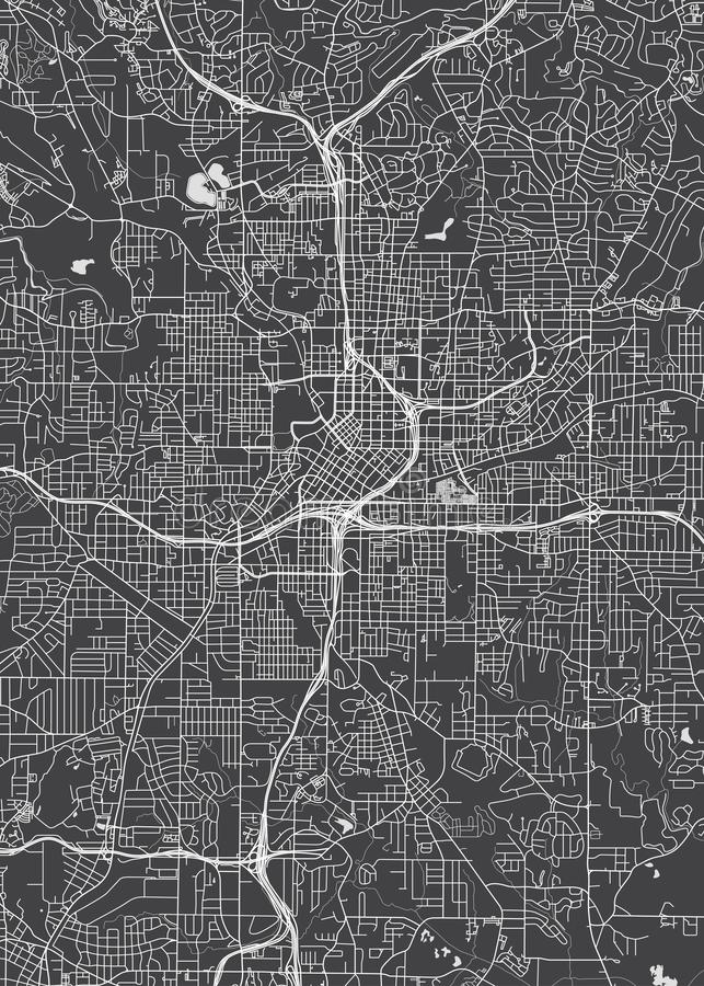 City map Atlanta, monochrome detailed plan, vector illustration. Detailed map of the city of streets, squares and rivers vector illustration