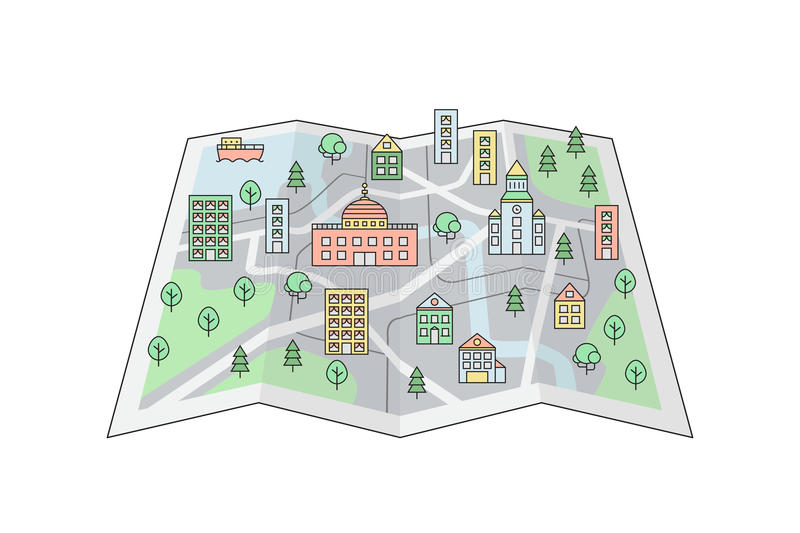 City On The Map Background. Clean And Simple Outline Design. Stock Vector