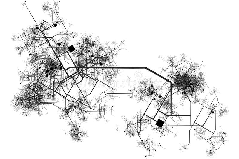 City Map Blueprint. Abstract of a City in a White Background royalty free illustration