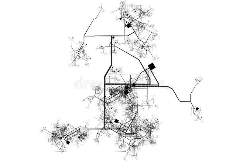 City Map Blueprint. Abstract of a City in a White Background stock illustration