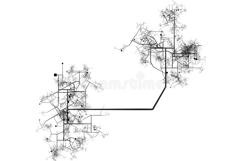 City Map Blueprint. Abstract of a City in a White Background vector illustration